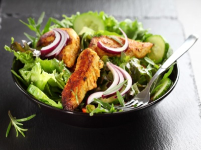 Paleo Chicken Strips in a Salad