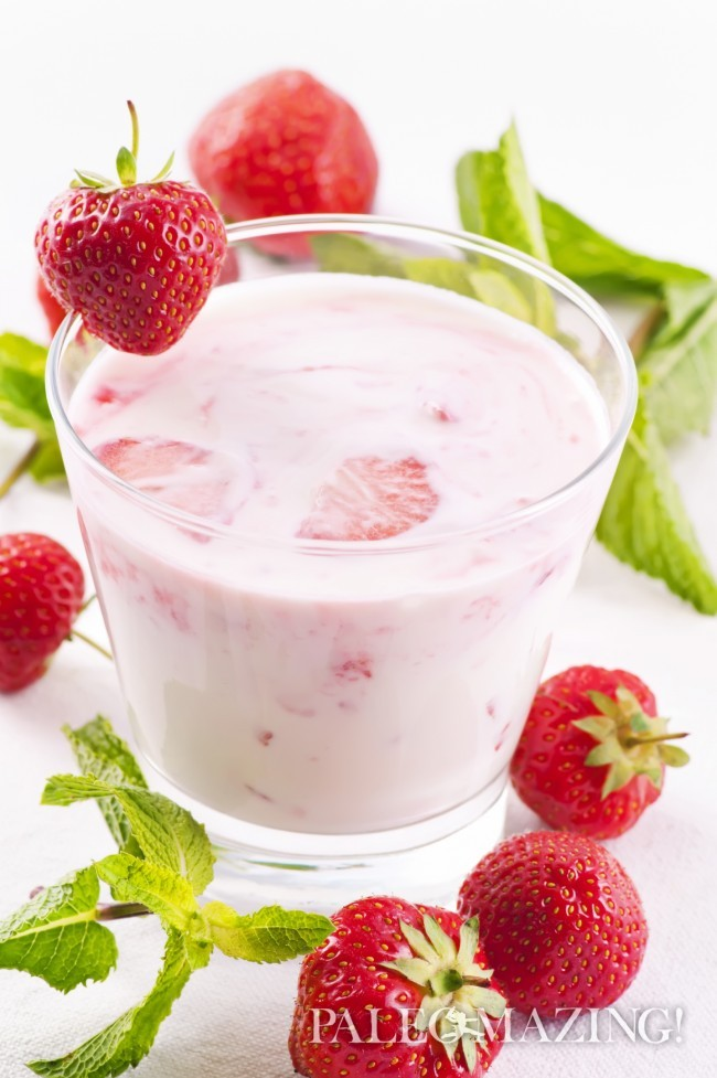 coconut kefir with strawberries