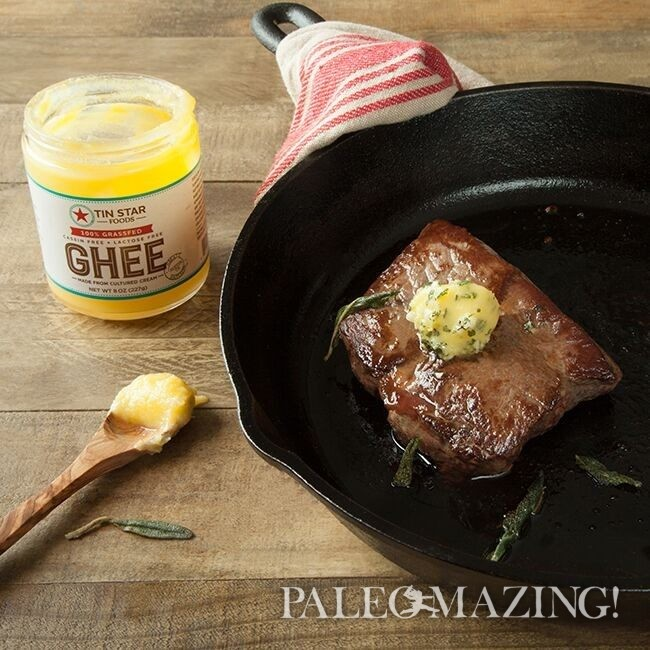 Pan Fried Grass Fed Steak with Sage Browned Ghee