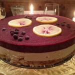 Raw Vanilla Cheezecake with Orange Berry Sauce