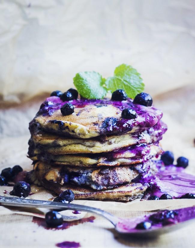 Amazing Paleo Blueberry Pancakes with Blueberry Cream