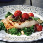 Roasted Black Cod with Warm Tomato Vinaigrette on Seared Rapini